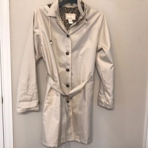 Lightweight tan and leopard rain trench coat